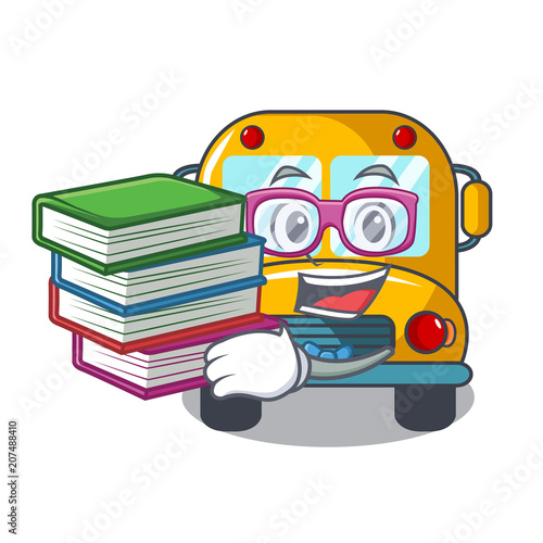Student with book school bus mascot cartoon - Buy this stock