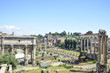 Rome, ruins of the Imperial forums of ancient Rome. Arch of Septimius Severus and Temple of Saturn