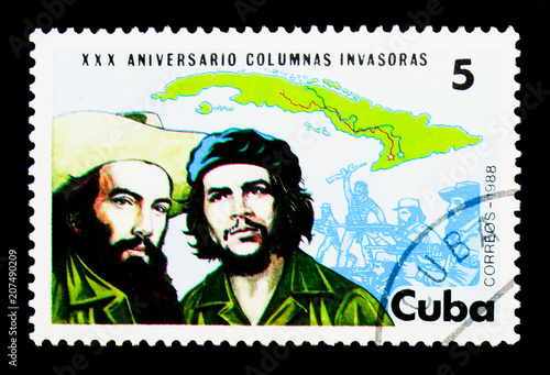 Fotografie, Obraz  Map of Cuba, Fidel and Cienfuegos, Revolutionary Invasion Forces
