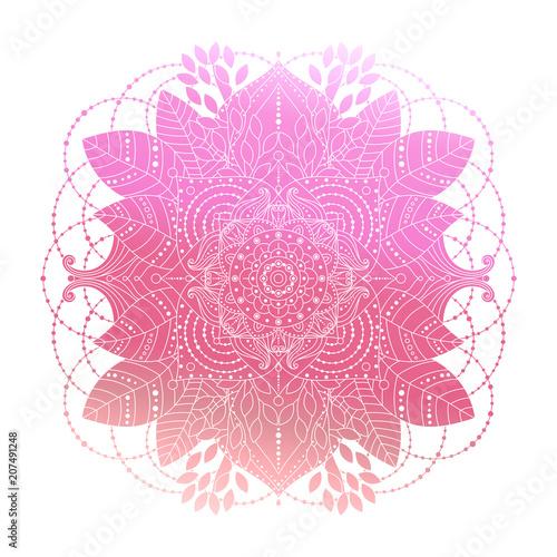 Foto auf AluDibond Boho-Stil Pink gradient coloring mandala, vibrant floral ornament in boho style, asian arabesque art, isolated element, vector illustration.