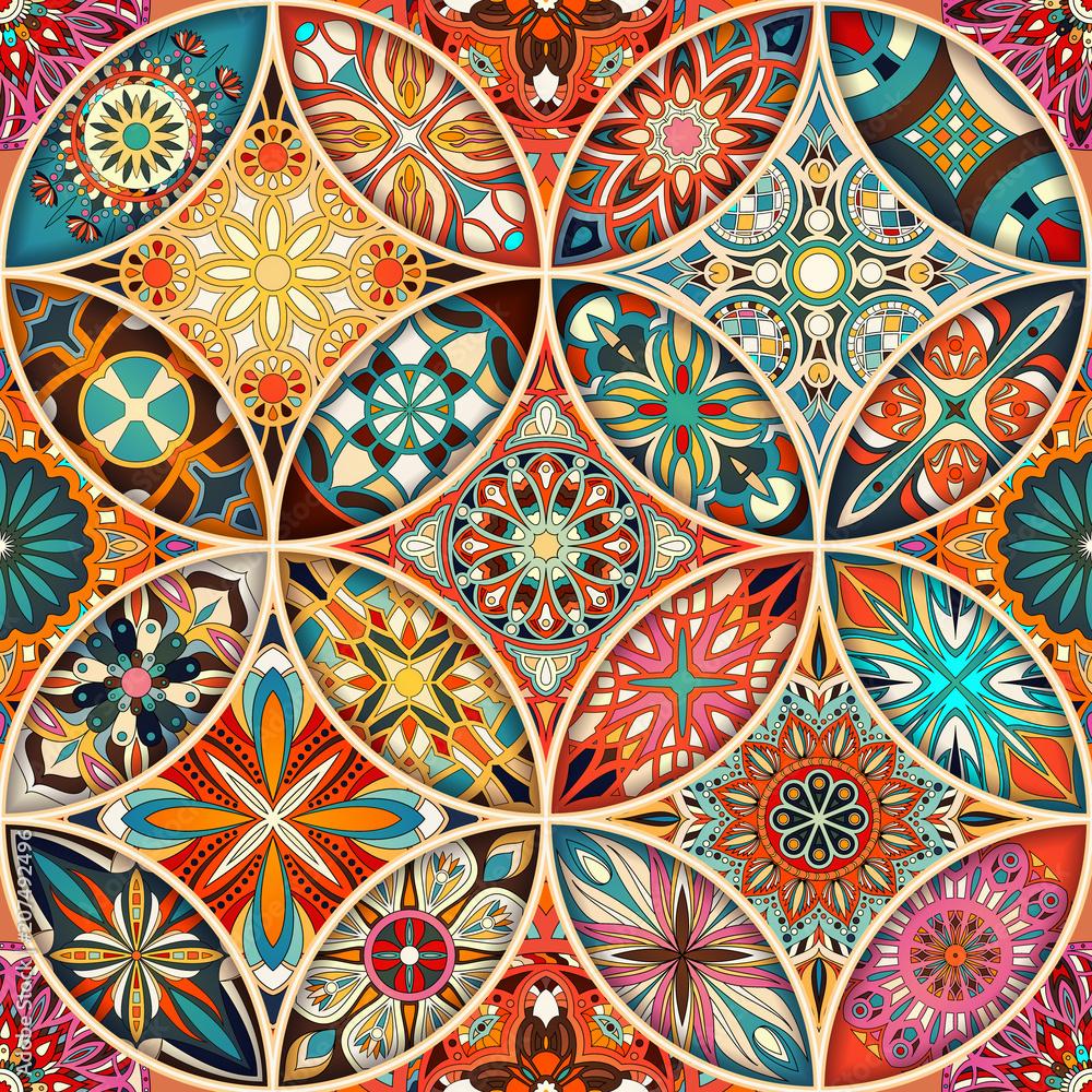 Fototapeta Seamless pattern with decorative mandalas. Vintage mandala elements.