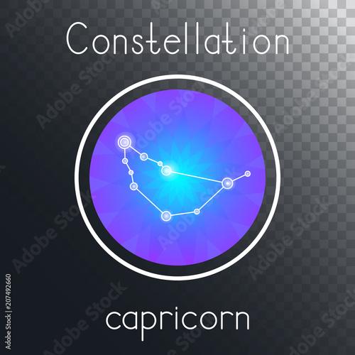 Fototapeta Vector round icon with Zodiac constellation CAPRICORN. obraz na płótnie