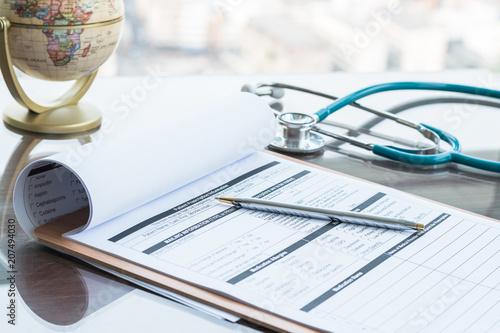 Fotografie, Obraz  Medical health care record, patients discharge, or prescription form paperwork i