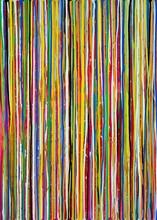 Bunte Verlaufene Farbstreifen In Blau, Grün Und Orange, Gouache-Gemälde Von Carola Vahldiek