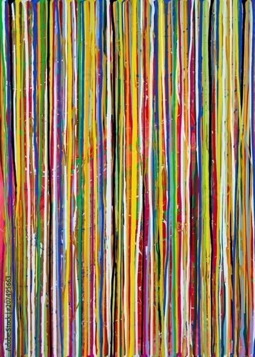 Photo  Bunte verlaufene Farbstreifen in blau, grün und orange, Gouache-Gemälde von Caro