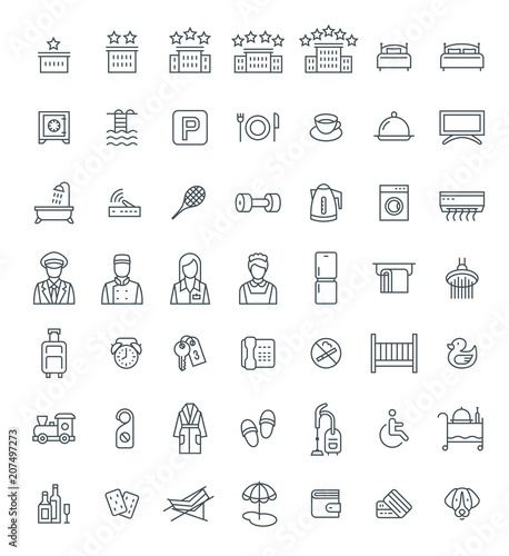 Hotel Services Vector Outline Icons Set Simple Linear Pictograms