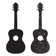 Guitar Icon, Silhouette. Grunge Design. Vector Illustration Isolated On White