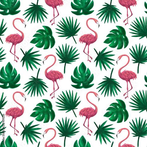flamingo-tropikalny-lisc-wzor