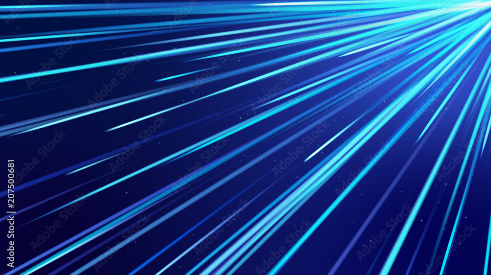 Fototapety, obrazy: Blue  streak Lines of Light Technology Abstract Background. Abstract  background.