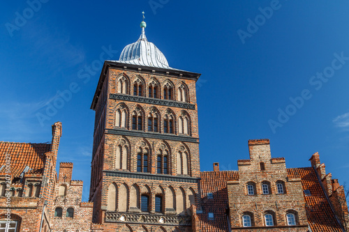 Keuken foto achterwand Noord Europa North Gothic city gate of the old Lubeck town, Germany