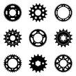 Sprocket wheel icons set. Silhouette vector