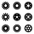 Set of gear wheel icons. Silhouette vector