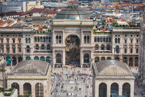 Foto op Aluminium Artistiek mon. Milan, Italy / May 31, 2018: aerial view of Vittorio Emanuele Gallery from Martini lounge rooftop