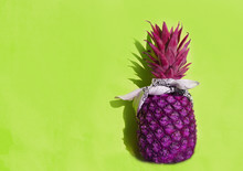 Purple Pineapple In  White Ban...