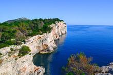 Cliffs Over The Mediterranean Sea At Telascica National Park, Dugi Otok, Croatia