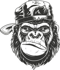 Fototapeta Monkey's head in a baseball cap