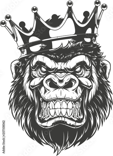 Naklejka premium Okrutna głowa goryla