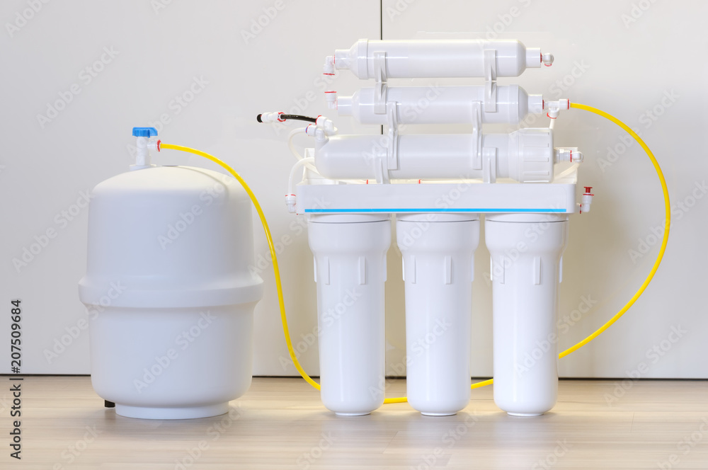 Fototapeta Water purification system. Domestic reverse osmosis filter