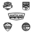 Travel badge, outdoor activity logo collection. Scout camps emblems. Vintage hand drawn travel badge design. Stock illustration, insignias, rustic patches. Isolated on white background