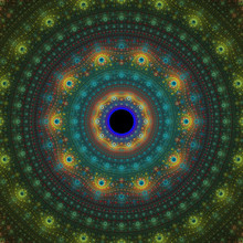 Bright Abstract Fractal Sun, Fractal Mandala Fantasy,