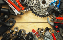A Set Of Spare Parts And Tools For A Bicycle Upgrade