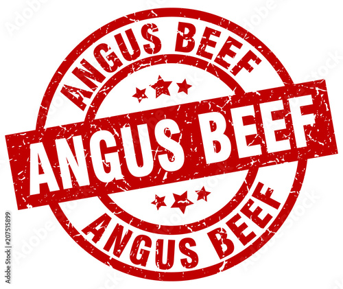 angus beef round red grunge stamp Canvas Print