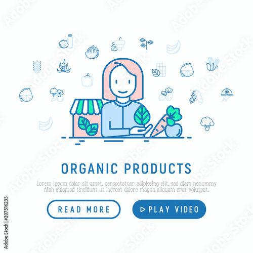 Organic shop concept: woman with vegetables. Thin line icons: corn ...