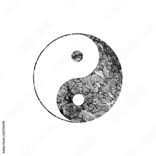 Valokuvatapetti Black and white watercolor yin and yang symbol on white.