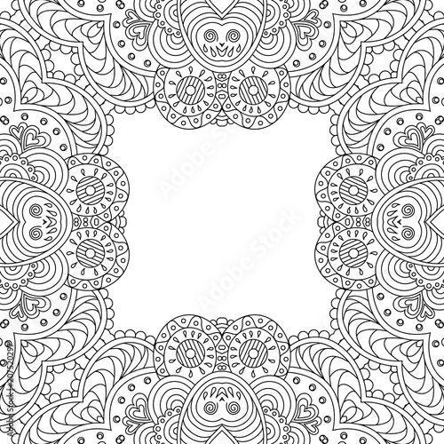 Vector Template Zentangle Frame Floral Mandala For Decorating Greeting Cards Coloring Books Art Therapy