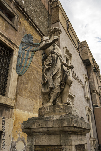 Poster Historisch mon. Saint Michael archangel sculpture at the ancient Castel Sant'Angelo