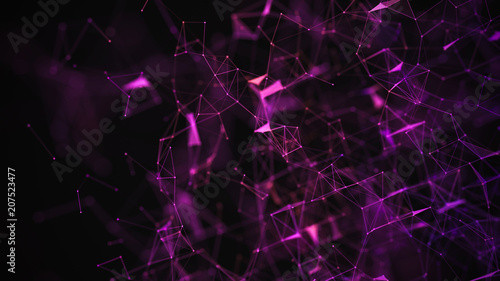 Abstract purple background with connecting dots and lines. Structure and communication. Plexus effect. Abstract science geometrical network background.