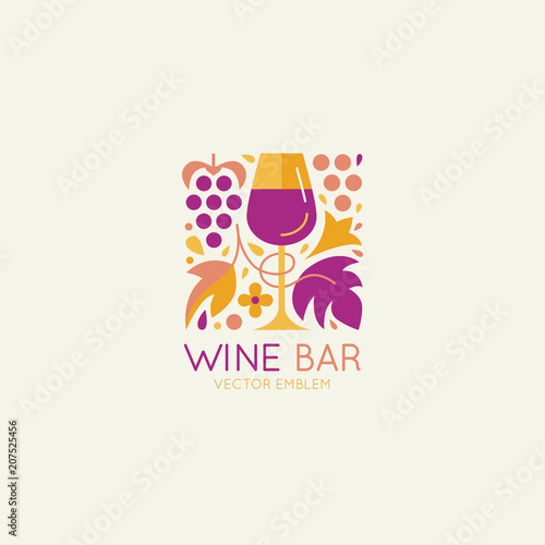 Fotografie, Obraz Vector logo design element and icon for wine packaging