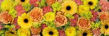 Gelbe Und Orange Blumen Als Hintergrund Oder Banner