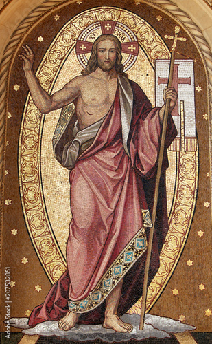Fototapeta Resurrection of Christ, mosaic, Mirogoj cemetery in Zagreb, Croatia