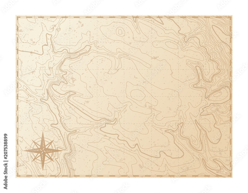 Fototapety, obrazy: Old map isolated on white background, compass, vector illustration