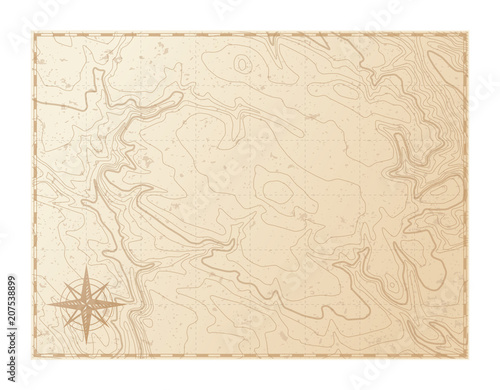 Photo  Old map isolated on white background, compass, vector illustration