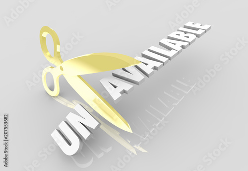 Fotografie, Obraz  Unavailable Scissors Cutting Word 3d Render Illustration
