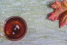 Transparent Cup Of Black Tea A...