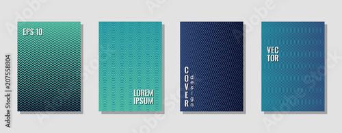 Fotografie, Obraz  Technological zig zag banner templates, wavy lines gradient stripes backgrounds for scientific cover