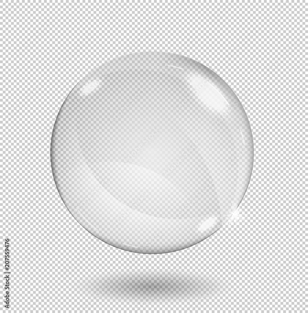 Fototapety, obrazy: Big white transparent glass sphere with glares and highlights. Transparency only in vector format.