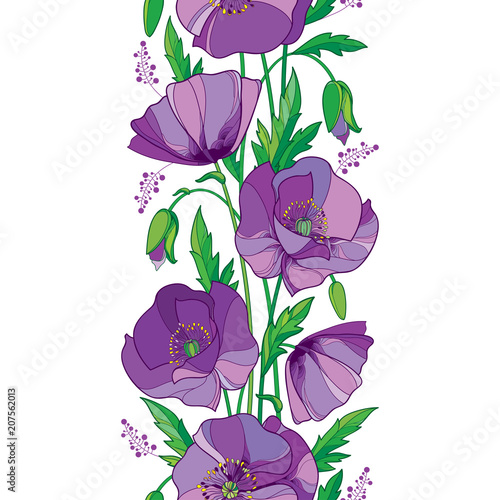 Vector elegance seamless pattern with outline purple poppy flower vector elegance seamless pattern with outline purple poppy flower bud and green leaves on the mightylinksfo