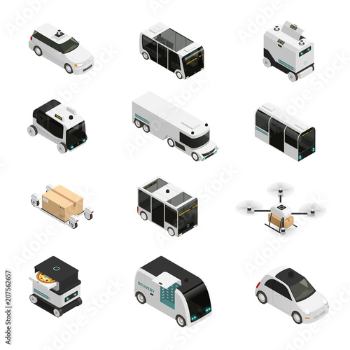 Autonomous Vehicles Isometric Icons
