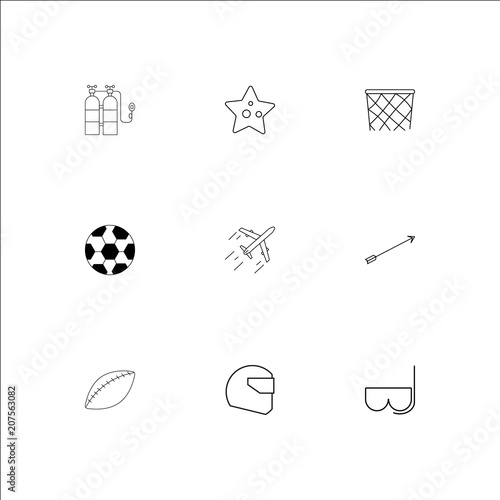 Sport And Recreation outline vector icons set Poster