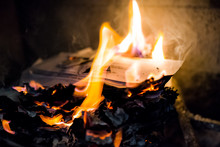 Burning Fire Paper, Letters In...