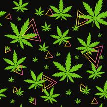 Marijuana,green Weed, Dope Seamless Pattern