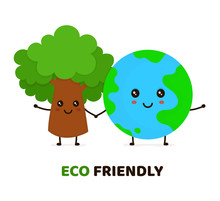 Happy Cute Smiling Green Tree And Earth