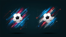 Football Cup, Soccer Championship Illustration Set. Dynamic Neon Glowing Lines Isolated On Black Background. Realistic 3d Ball. Holographic Element For Design Cards, Invitations, Flyers Brochures