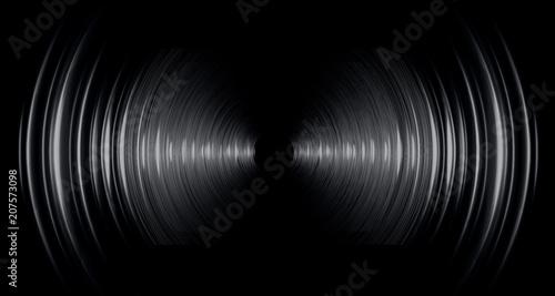Fotografía Sound waves oscillating dark blue light, Abstract technology background