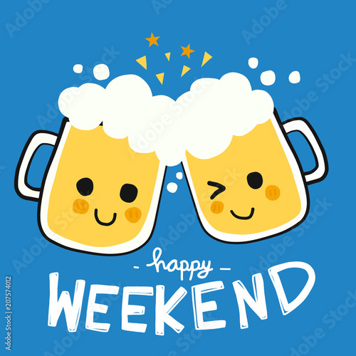 Cuadros en Lienzo Happy weekend beer smile cartoon doodle vector illustration