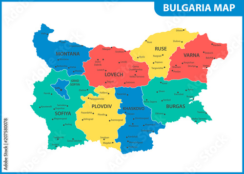 The detailed map of Bulgaria with regions or states and cities, capital Wallpaper Mural